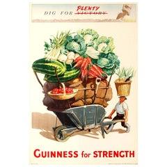 Original Vintage Guinness for Strength Dig for Plenty Victory WWII Drink Poster