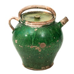 19th Century Green Painted French Confit Jug