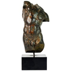 Dramatic 20th Century Male Nude Torso Sculpture after the Antique