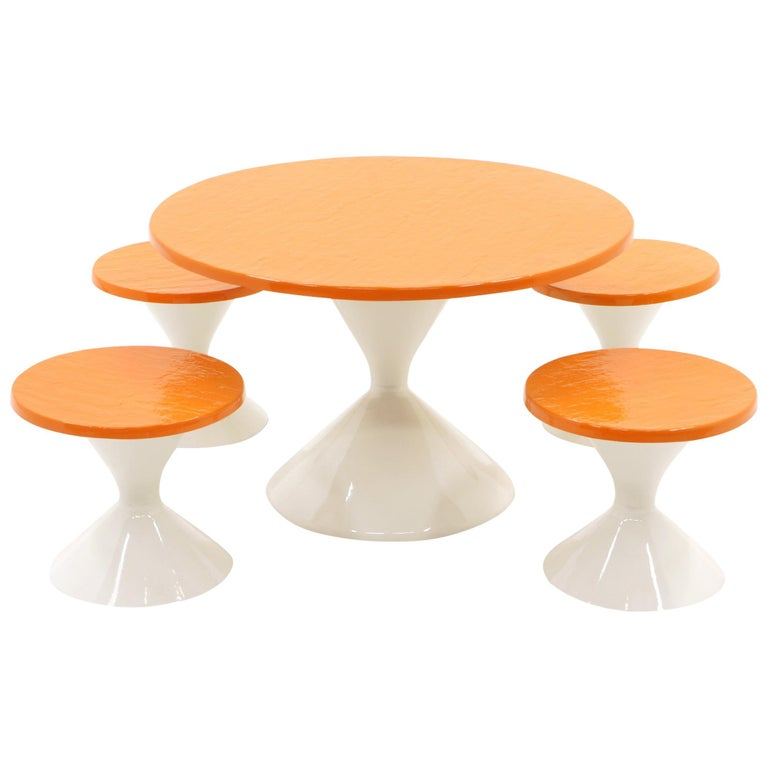 Kids Outdoor Patio Table and Four Stools White and Orange Fiberglass For Sale