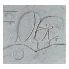 Large Carrara Marble Bas-Relief Aeneas and Penelope