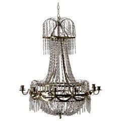 Chandelier Chrystal Swedish Gustavian Neoclassical Brass, Sweden
