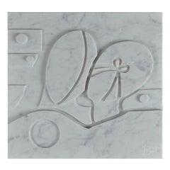 Small Carrara Marble Bas-Relief Aeneas and Penelope