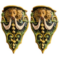 Italian 19th Century Hand Carved and Lacquer Wood Wall Brackets with Lion Heads