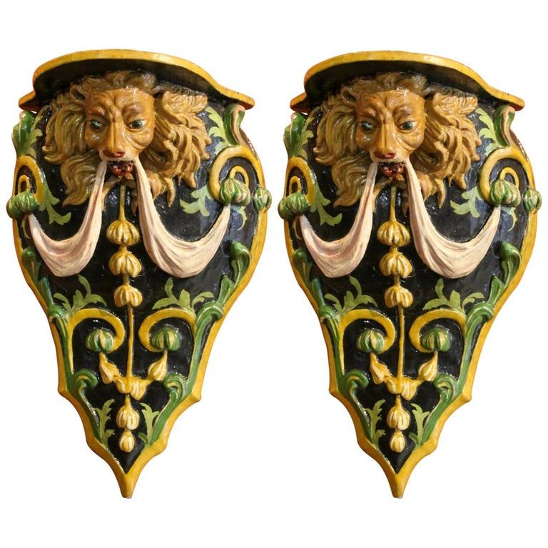 Italian 19th Century Hand Carved and Lacquer Wood Wall Brackets with Lion Heads For Sale
