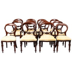 Set 12 Victorian Style Balloon Back Mahogany Dining Chairs, 20th Century
