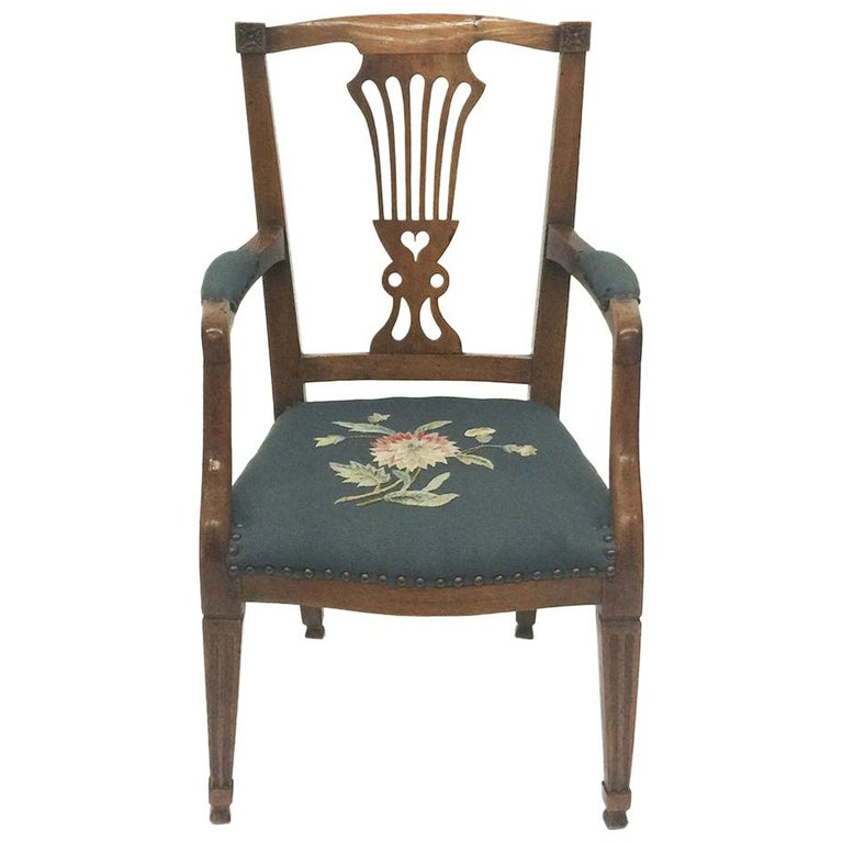 Early 19th Century Dutch Oak Children's Chair For Sale