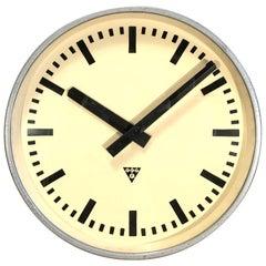 Large Grey Industrial Clock from Pragotron, 1960s