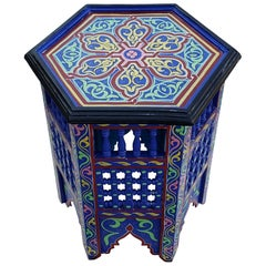Moroccan Hexagonal Wooden End Table, Hand Painted 14