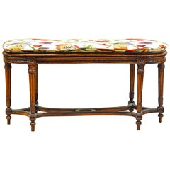 Late 19th Century Provincial Louis XVI Style Richly Carved Bench with Cushion