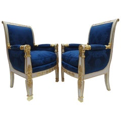Gorgeous Empire Pair of  Blue Bergeres Armchairs by Jeanselme, France circa 1825