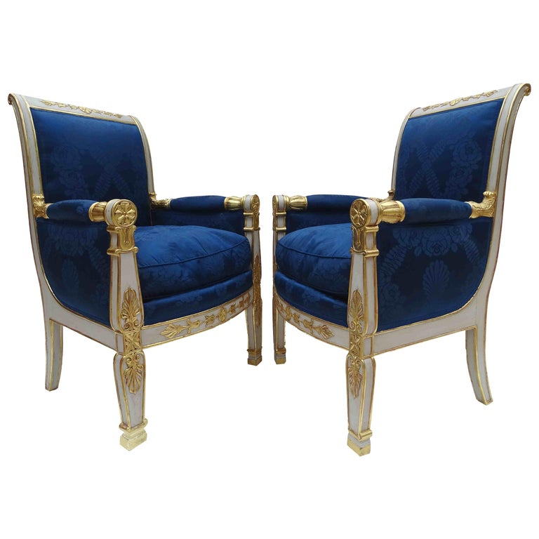 Gorgeous Empire Pair of  Blue Bergeres Armchairs by Jeanselme, France circa 1825 For Sale