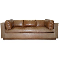 Huge Ralph Lauren Three-Four Seater Brown Leather Feather Sofa