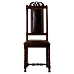 Chair Baroque Swedish Brown Leather, Sweden