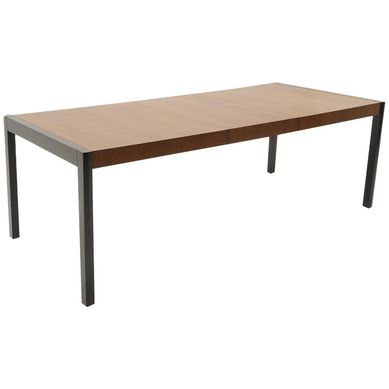 Dining Table, Walnut with Black Ends and Legs by Metropolitan For Sale