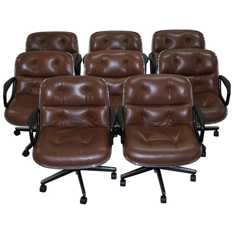 One of Eight Original Knoll Pollock Vintage Brown Leather Executive Armchairs For Sale