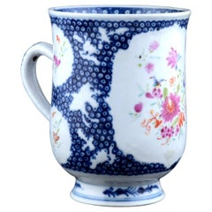 Chinese Export Porcelain Famille Rose and Blue Tankard, circa 1775