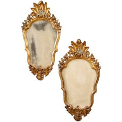 20th Century Golden Wood Pair of Italian Mirrors, 1960