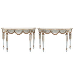 Pair of Painted and Parcel Gilt Louis XVI Style Consoles
