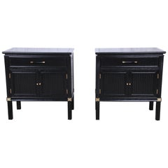 Tamerlane Collection Hollywood Regency Chinoiserie Ebonized Nightstands, Pair