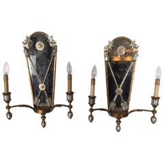 Pair of Hollywood Regency Style Mirrored Sconces
