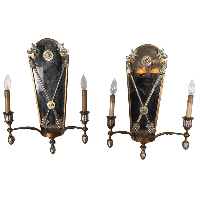 Pair of Hollywood Regency Style Mirrored Sconces For Sale