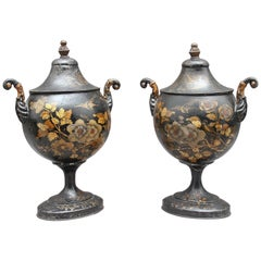 Pair of Early 19th Century Tole Chestnut Urns