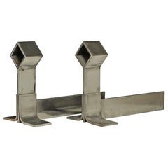 Stylish Pair of Midcentury Brushed Steel Andirons or Firebogs