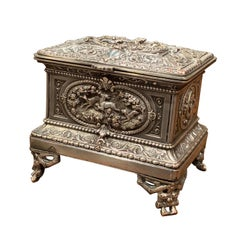 19th Century French Silver Plated on Copper Jewelry Box with Repoussé Hunt Motif