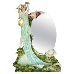 Hans Kieweg Art Nouveau Figural Vanity Mirror for Fraureuth