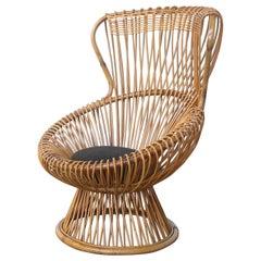 2 Franco Albini for Bonacina Wicker Margherita Chair with Original Cushion