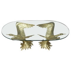1970s Designer Coffee Table by Jacques Duval-Brasseur with Pair of Winged Birds