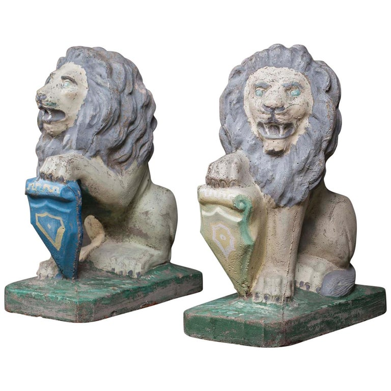 Pair of Vintage English French Garden Ornament Cast Stone Lions, circa 1930 For Sale