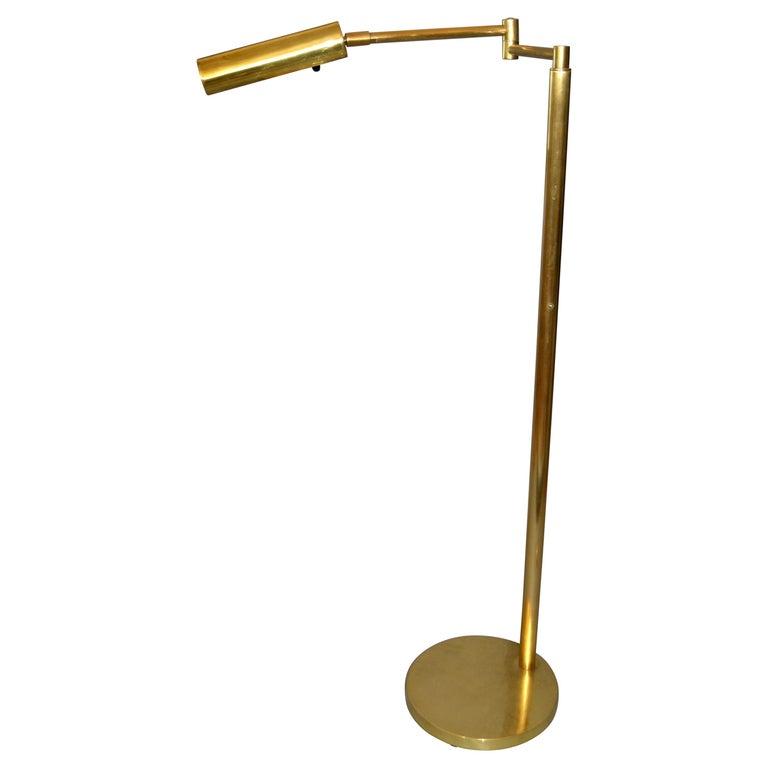Italian Brass Swing Arm Floor Or Reading Lamp For Sale At 1stdibs