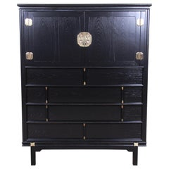 Tamerlane Collection Hollywood Regency Chinoiserie Ebonized Gentleman's Chest