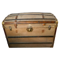 Large 19th Century French Canvas Dome Top Travel Trunk, Lion Brand