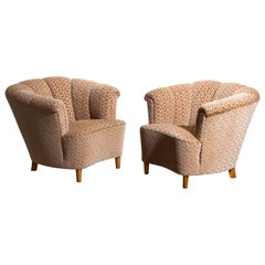 1940s, Pair of Shell Back Easy or Cocktail Chairs from Sweden