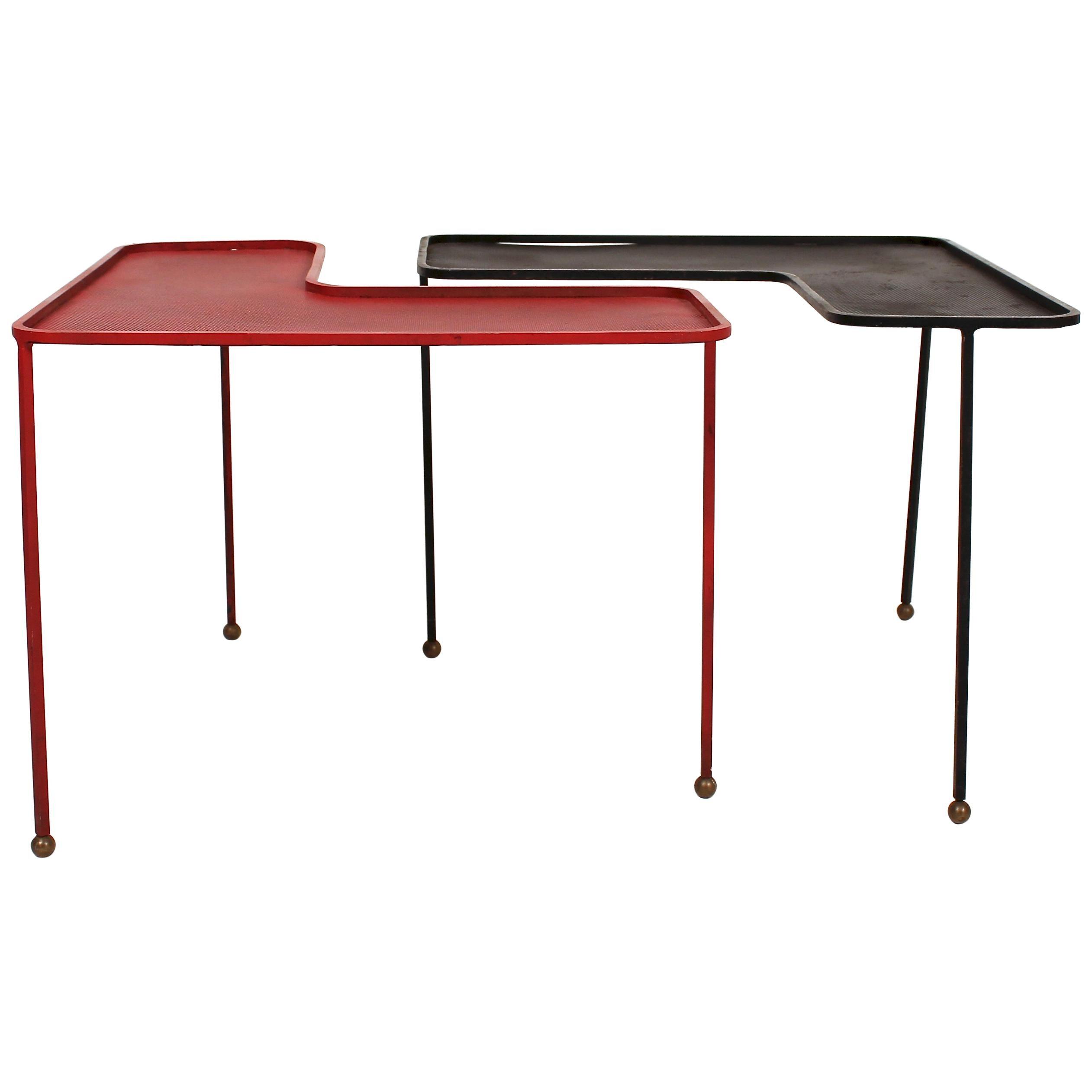 Pair of Domino Tables by Mathieu Matégot, 1953