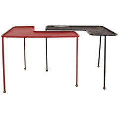 Pair of Domino Tables by Mathieu Matégot, 1953