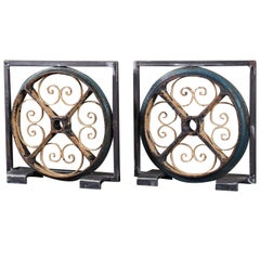 Antique French Painted Industrial Iron Wheels circa 1880 in Custom Display, Pair