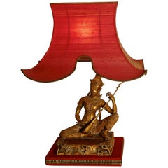 Gilded Bronze Seated Buddha Table Lamp