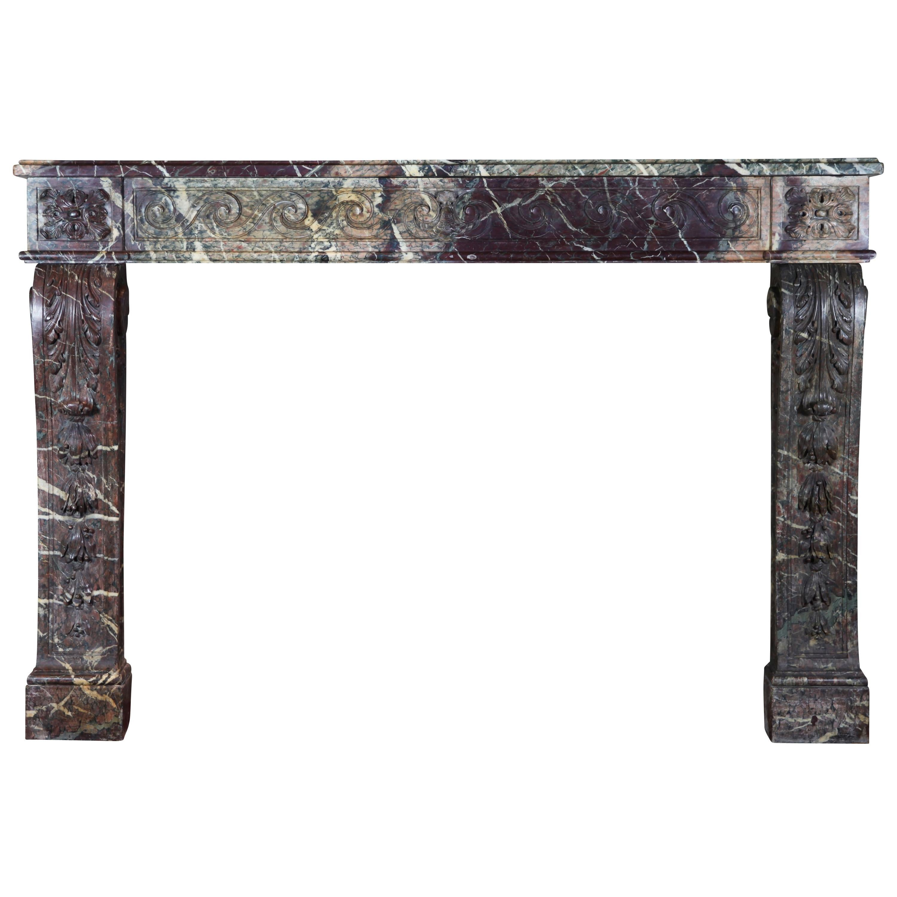 18Th Century French Grand Interior Marble Antique Fireplace Surround