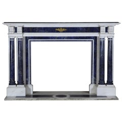 Blue and White Statuary Marble Antique Fireplace Surround