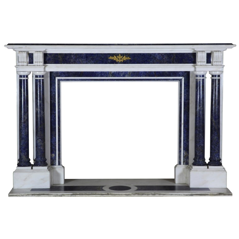 Blue and White Statuary Marble Antique Fireplace Surround For Sale