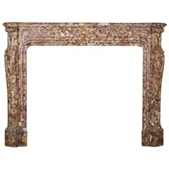 French Pompadour Antique Fireplace Surround in Breche d'aleppe Marble