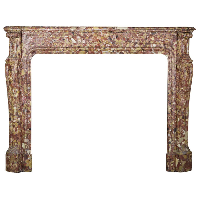 French Pompadour Antique Fireplace Surround in Breche d'aleppe Marble For Sale