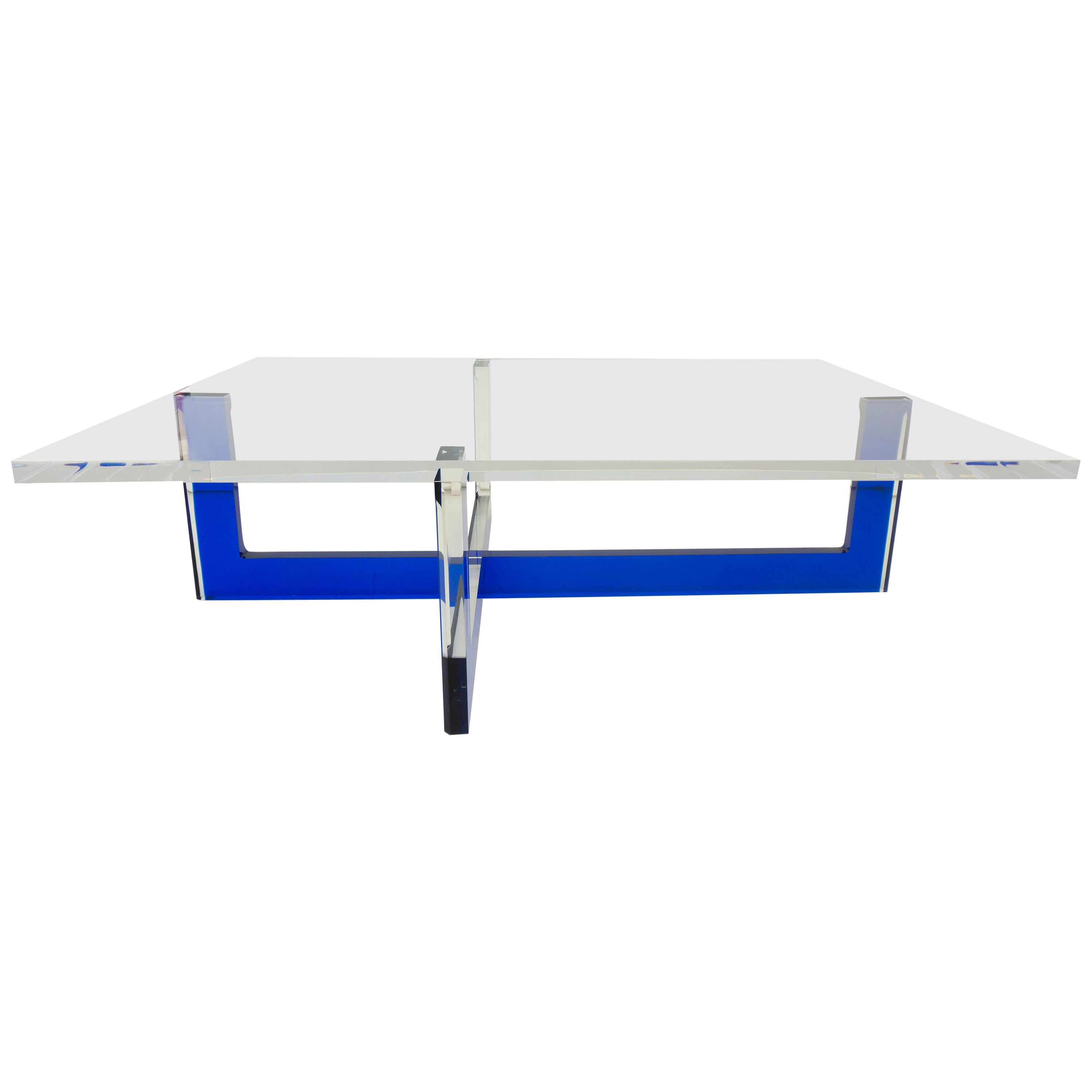 Modern Lucite Coffee Table with Blue Base