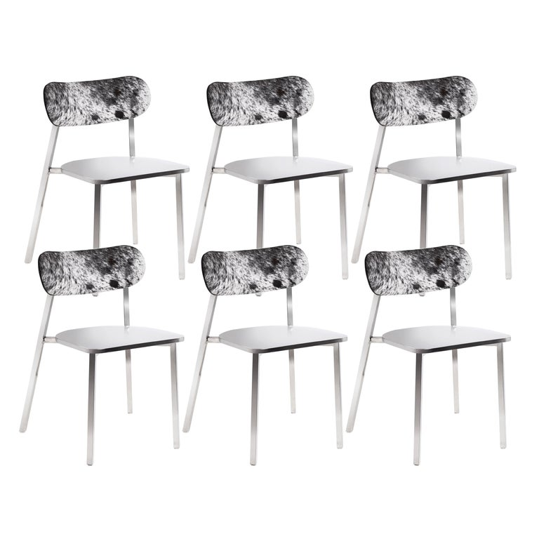 Genuine Cowhide Modern Dining Chairs Set Of 6 For Sale At