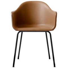 "Harbour Chair, Black Steel Legs and Nevotex ""Dakar"" #0250 (Cognac) Leather Shell"