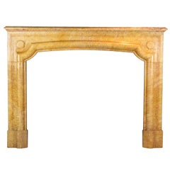 Louis XIV Style French Vintage Fireplace Surround in Yellow Marble